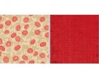 Teresa Collins Fabrications Linen Red Flowers